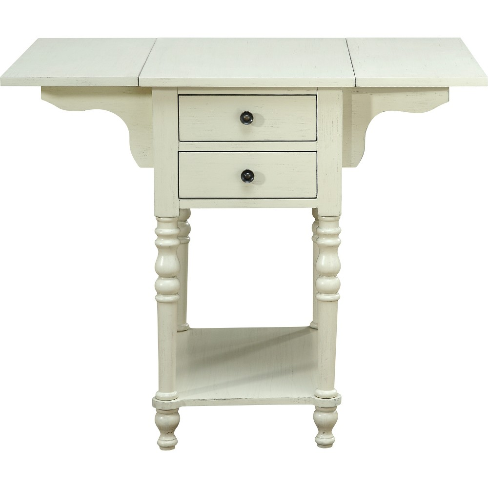 Franklin Drop Leaf 2 Drawer Accent Table Cream (Ivory) - Treasure Trove