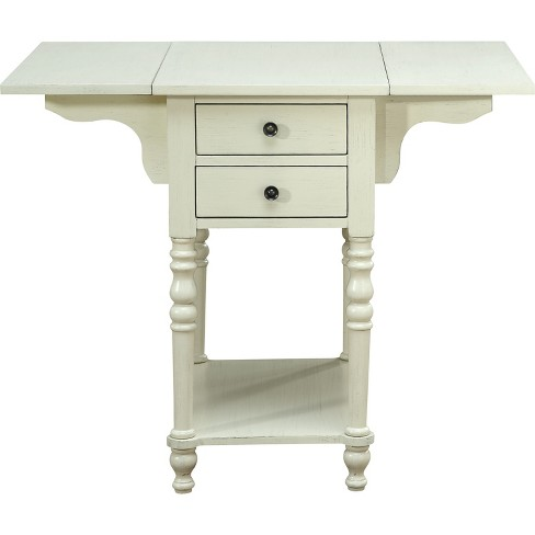 Franklin Drop Leaf 2 Drawer Accent Table Cream - Treasure Trove - image 1 of 4