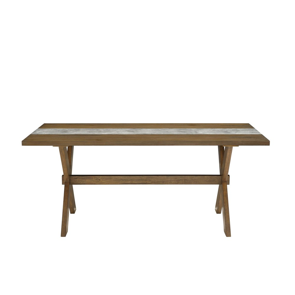 Shea Dining Table with Faux Concrete Center Brown - Dorel Living
