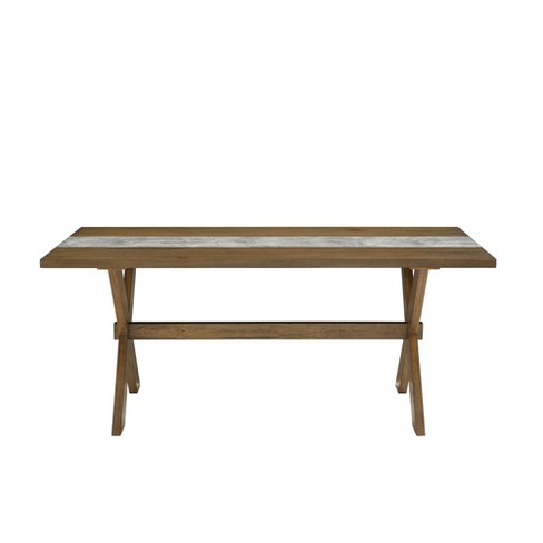 Shea Dining Table with Faux Concrete Center Brown - Dorel Living - image 1 of 5