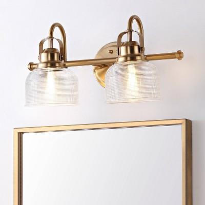 "17.25"" LED 2-Light Metal/Glass Virginia Pendent Brass/Gold - JONATHAN Y"