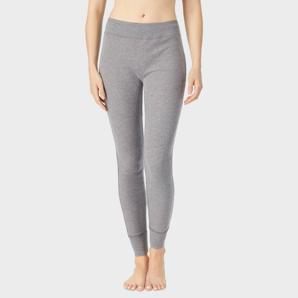 Warm Essentials by Cuddl Duds Women's Waffle Rib Combo Thermal Leggings – Graphite Heather M, Size: Medium, Gray