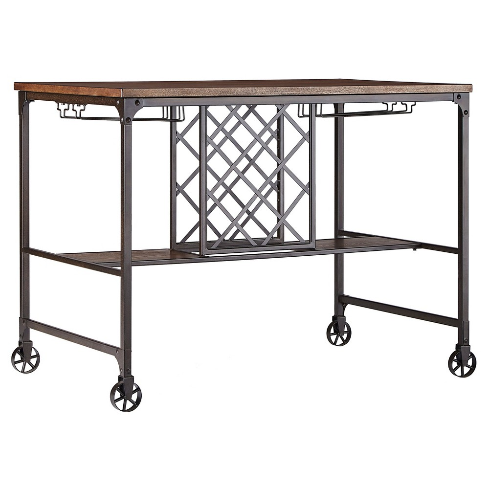 Mason Mixed Media Counter Height Table with Wine Storage - Brown - Inspire Q