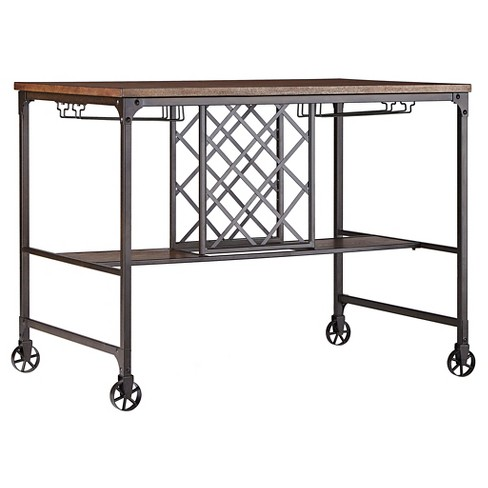Mason Mixed Media Counter Height Table with Wine Storage - Brown - Inspire Q - image 1 of 4