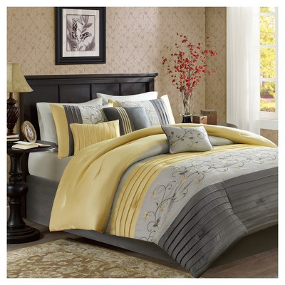 Yellow Moroe Embroidered Comforter Set (Queen)7pc