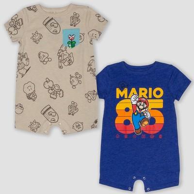 Baby Super Mario 2pk Short Sleeve Rompers - Beige/Blue 3-6M