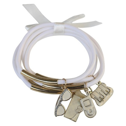Zirconite Multi-Strand Bracelet with Fashionista Charms - White - image 1 of 1