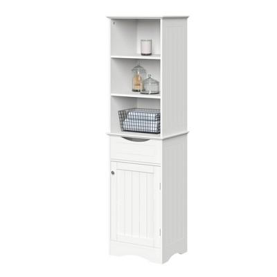 Beadboard Single Door Linen Cabinet White - RiverRidge Home