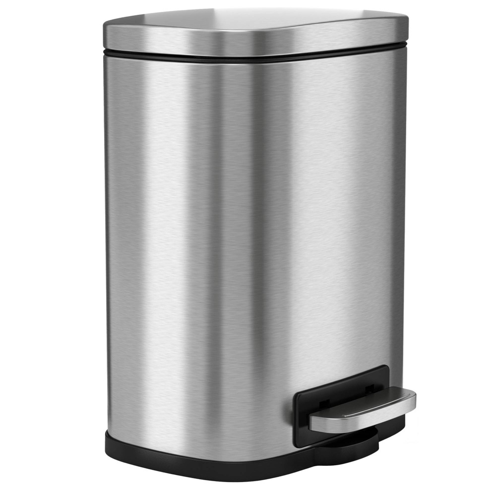 Image of 1.32gal Premium SoftStep Stainless Steel Step Trash Can - Halo, Silver