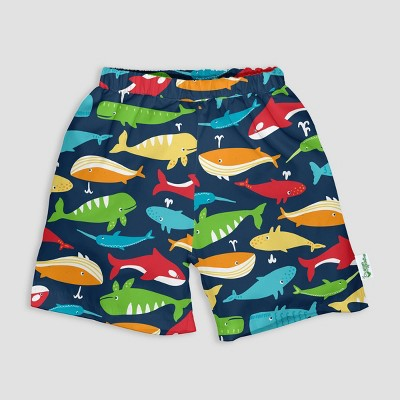 i play by green sprouts Toddler Boys' Classic Trunks with Built-in Swim Diaper - Navy Whale League 18M