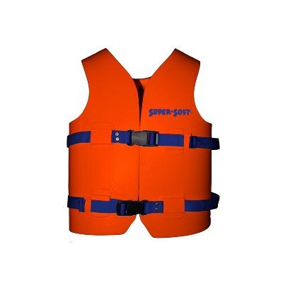 TRC Recreation 1021506 Super Soft Medium United States Coast Guard Approved Child Vinyl Coated Foam Life Preserver Floatation Vest, Sunset Orange