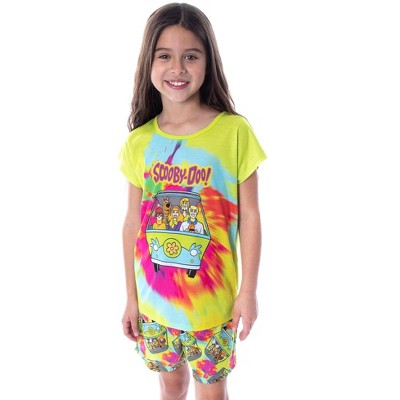 Scooby Doo Girls' Tie Dye Mystery Machine Shirt and Shorts Pajama Set