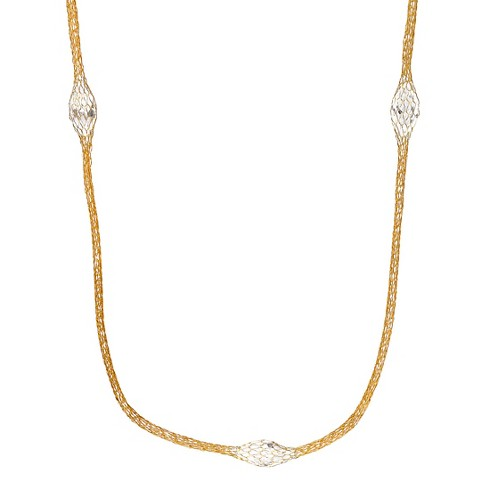 "2 1/2 CT. T.W. Marquise-cut Crystal Bead Set Thread Mesh Necklace in Sterling Silver - (18"") - image 1 of 2"
