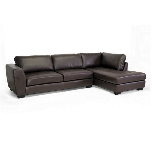 Orland Leather Modern Sectional Sofa Set with Right Facing Chaise - Baxton Studio - image 1 of 3