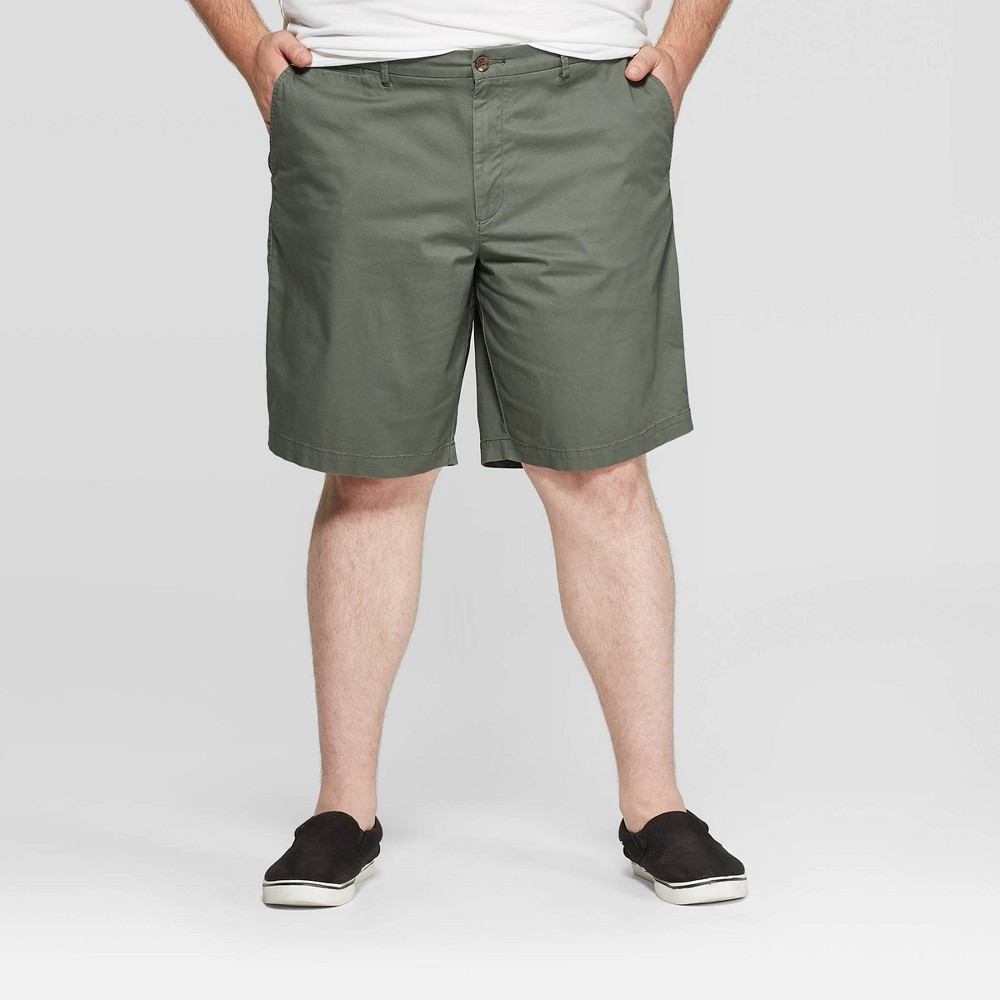 """Image of """"Men's Big & Tall 10.5"""""""" Flat Front Shorts - Goodfellow & Co Sage Leaf 44, Men's, Green"""""""