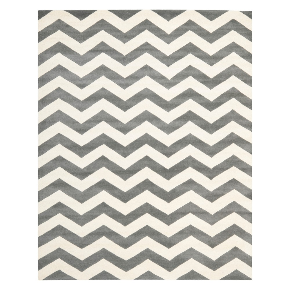 Chevron Area Rug Dark Gray/Ivory