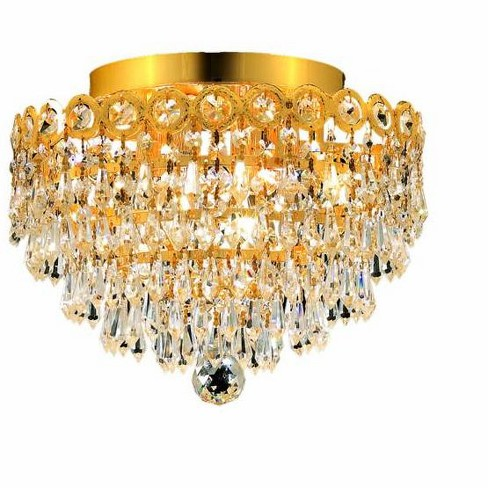 Elegant Lighting 1902F12G Century 4-Light, Single-Tier Flush Mount Crystal Chandelier, Finished in Gold - image 1 of 1