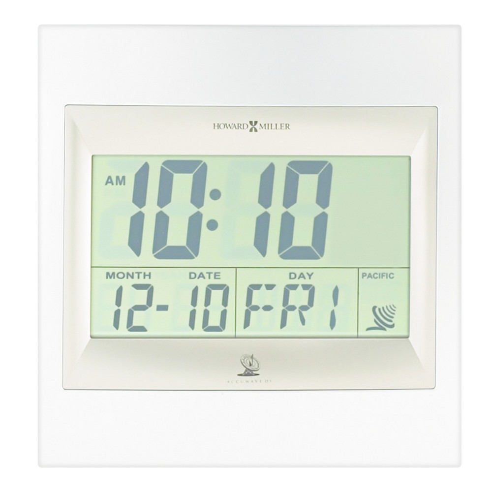 TechTime II Radio-Controlled Lcd Wall/Table Alarm Clock - Howard Miller, Silver