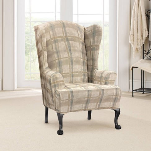 Stretch Velvet Wing Chair Slipcover, Velvet Wing Chair Slipcover