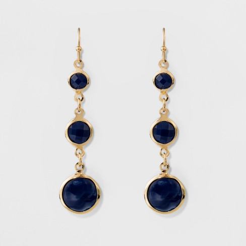 3 Channels Fish Hook Earrings - A New Day™ Blue/Gold - image 1 of 3