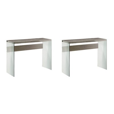 Monarch Specialties Contemporary Tempered Glass Accent Table, Taupe (2 Pack)