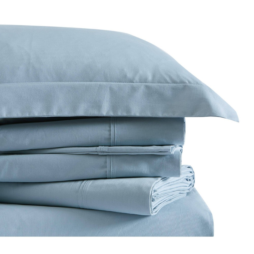 Image of Queen Classic Cotton Solid Sheet Set Light Blue - Brooklyn Loom