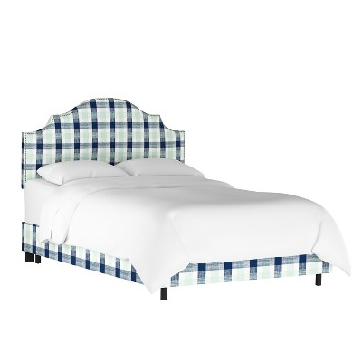 Nail Button Notched Bed Queen Check Navy Green - Threshold™