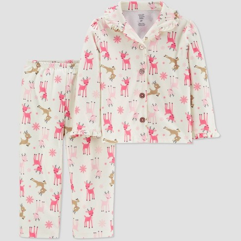 Toddler Girls' Reindeer Coat Pajama Set - Just One You® made by carter's Pink/White - image 1 of 1
