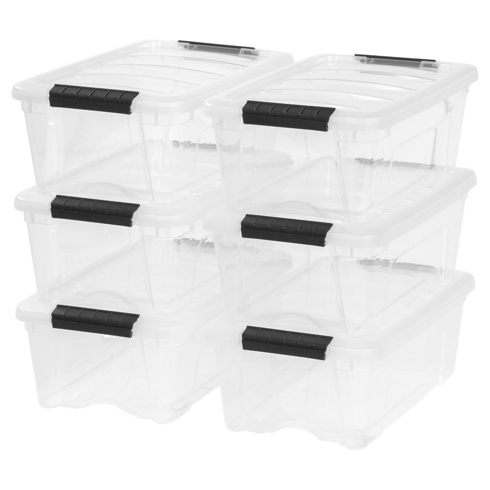 Image of 12.9oz Plastic Storage Bin 6 Pack - Iris, Clear