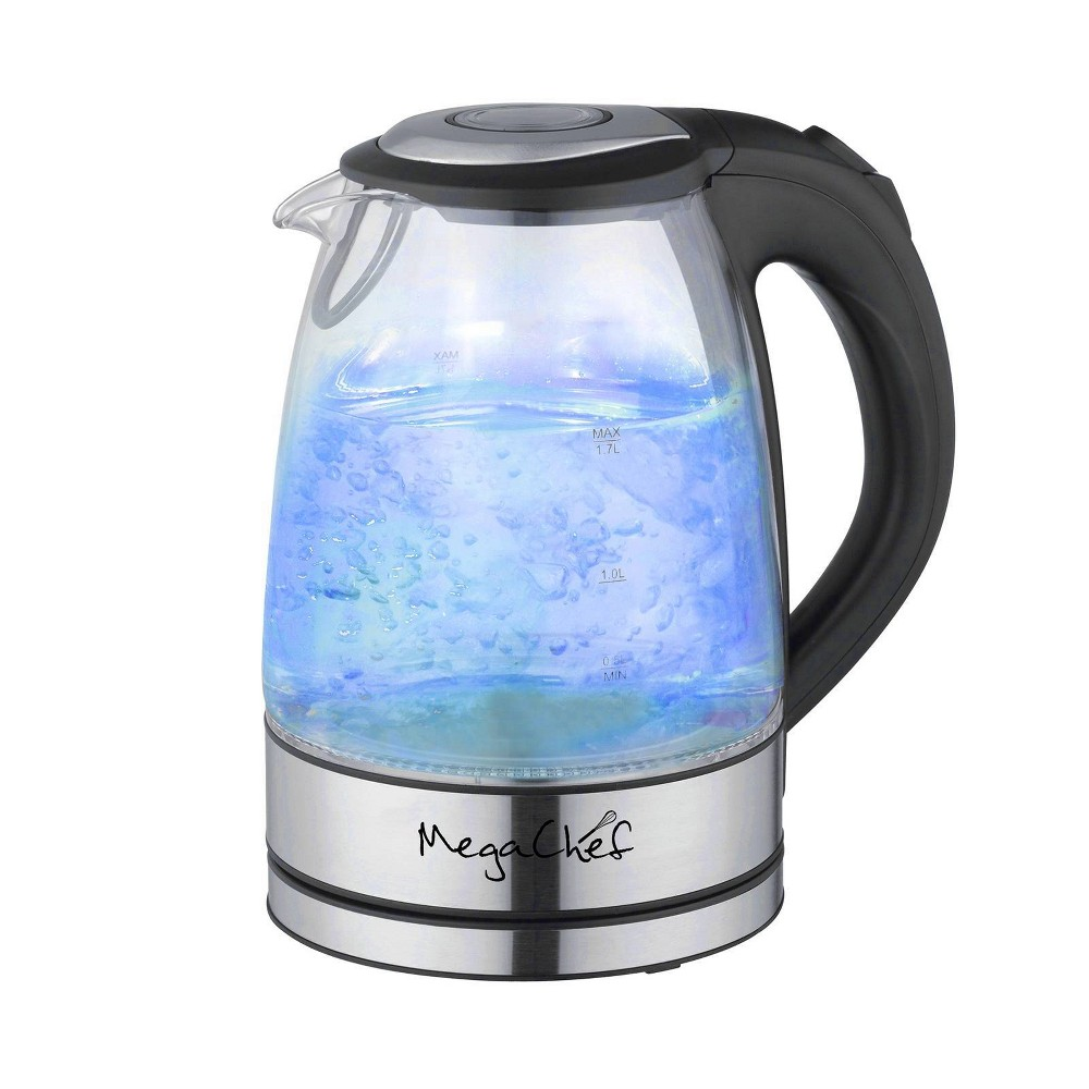 Image of MegaChef 1.7L Glass Electric Tea Kettle - Sliver