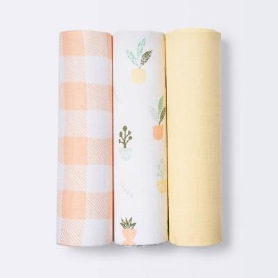 Muslin Swaddle Blankets Plants - Cloud Island™ Yellow 3pk