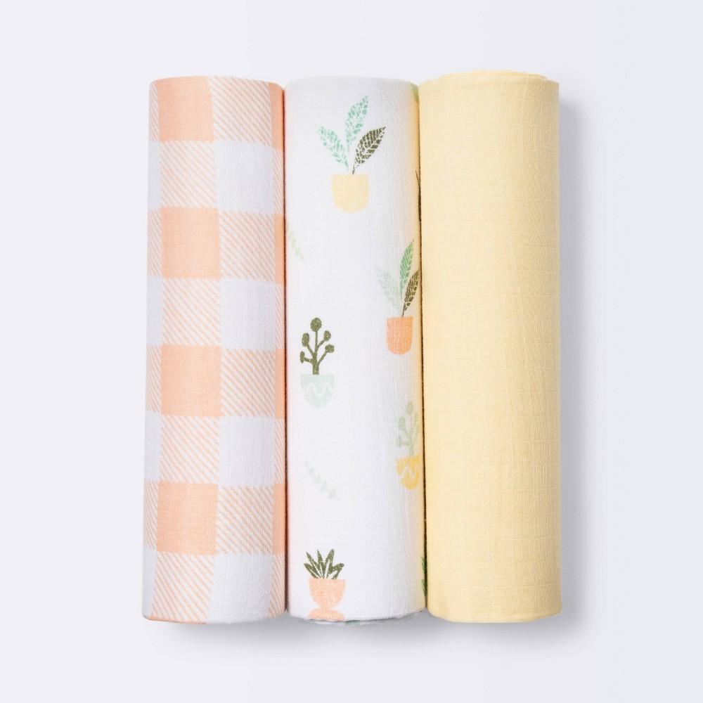 Muslin Swaddle Blankets Plants Cloud Island 8482 Yellow 3pk