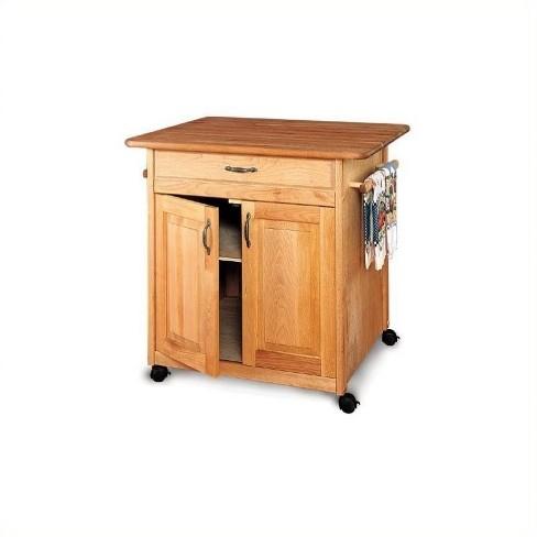 Wood Big Island Butcher Block Kitchen Cart in Natural Finish Brown -  Catskill Craftsmen