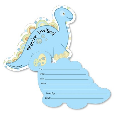 Big Dot of Happiness Baby Boy Dinosaur - Shaped Fill-in Invitations - Baby Shower or Birthday Party Invitation Cards with Envelopes - Set of 12