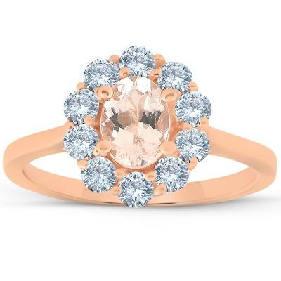 Pompeii3 1 1/4 Ct TW Oval Morganite Halo Diamond Ring 14k Rose Gold