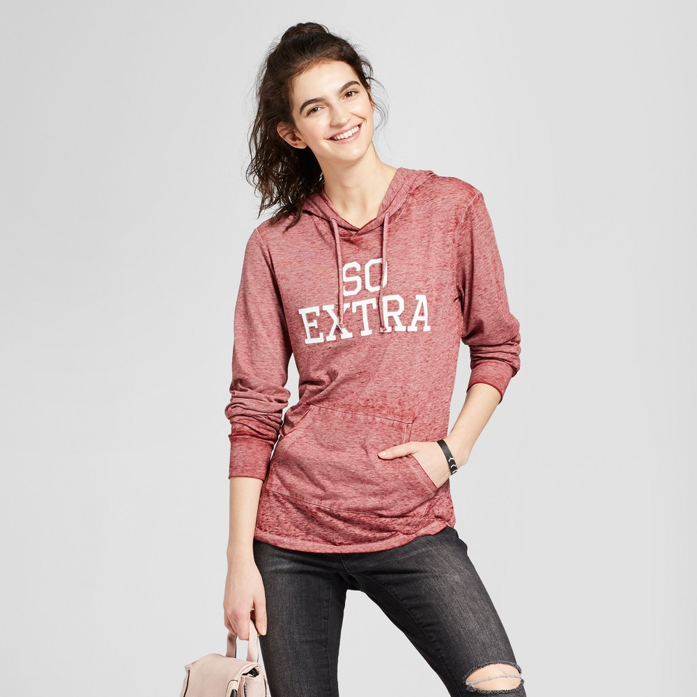 Women's So Extra Graphic Hoodie - Modern Lux (Juniors') - Burgundy S, Purple