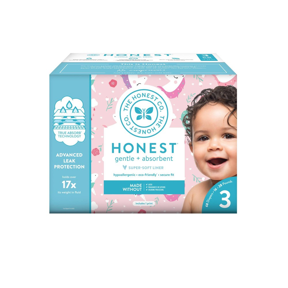 Honest Company Chasing Unicorns Club Pack Diapers - Size 3 (68ct), Multicolored