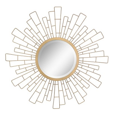 Geometric Sunburst Mirror Gold 24 x 24 - Stonebriar Collection
