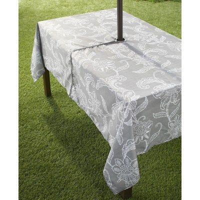 Lakeside Outdoor Tablecloth with Umbrella Hole and Zipper