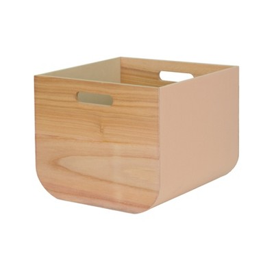 11 x13  Paulownia Wood with Solid Color Fabric Large Milkcrate Whipped Peach - Project 62™