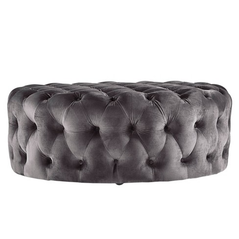 Beekman Place Velvet On Tufted, Round Tufted Ottomans