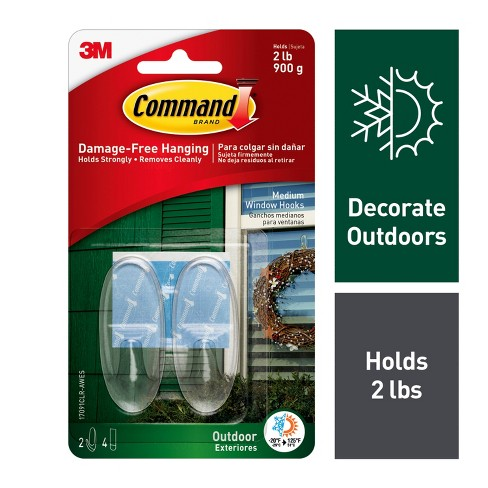 Command Medium Sized Clear Outdoor Window Hooks with Clear Strips (2 Hooks 4 Strips) - image 1 of 8