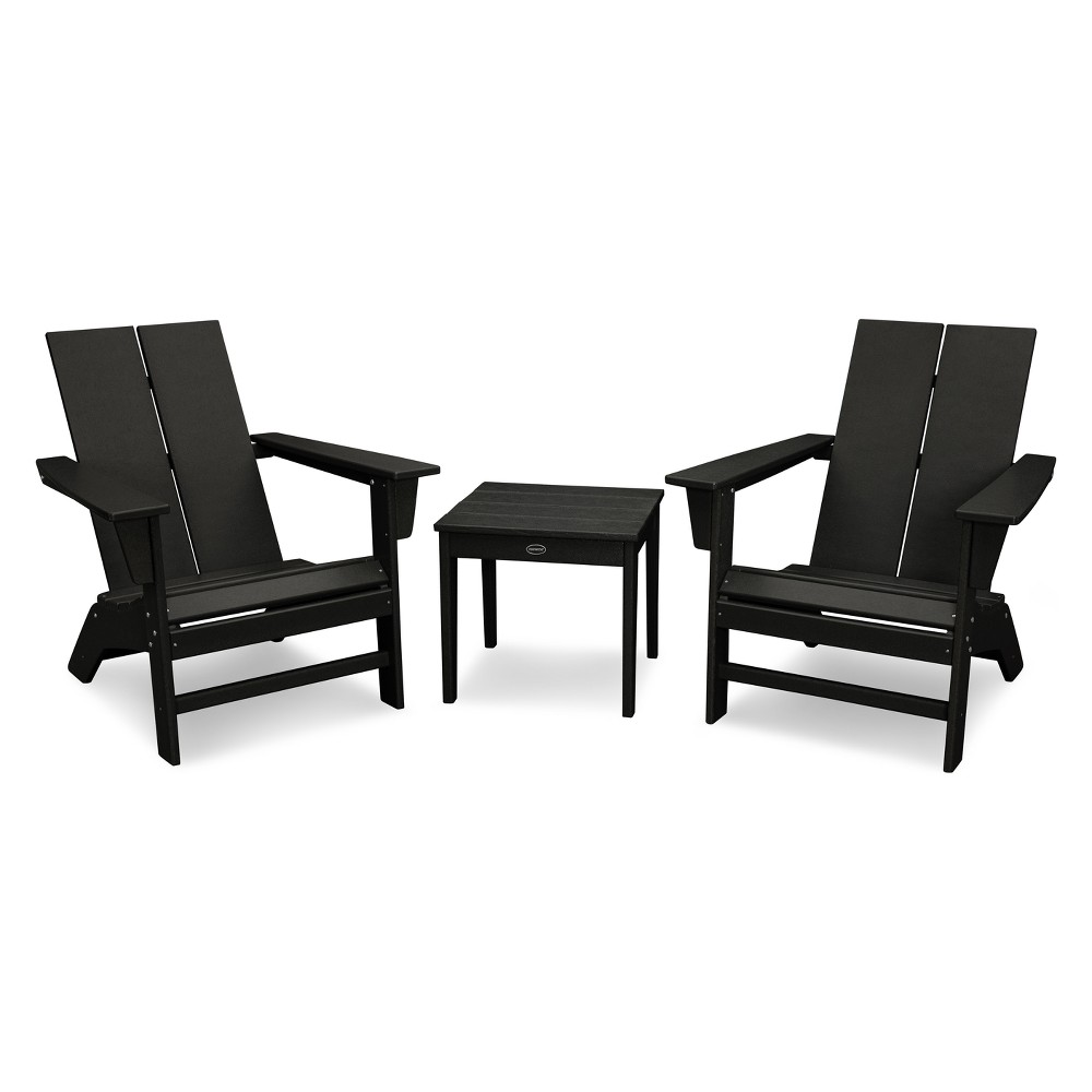St. Croix 3pc Contemporary Adirondack Set - Black - Polywood