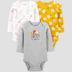 Baby Girls' 3pk Floral Long Sleeve Bodysuit - Just One You® made by carter's Yellow