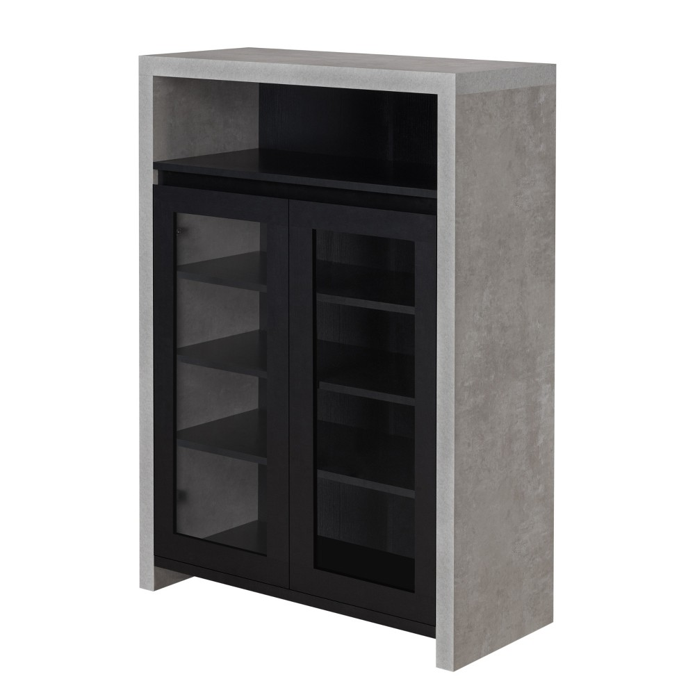 Image of Iohomes Biston Industrial 2-Shelf Shoe Cabinet Black - Homes: Inside + Out
