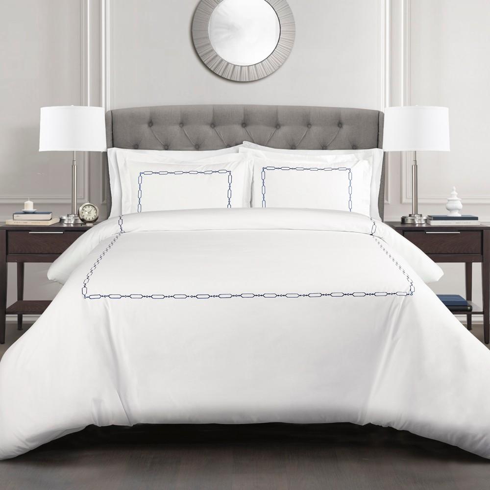 3pc King Hotel Geo Duvet Cover Set Navy (Blue) - Lush Decor