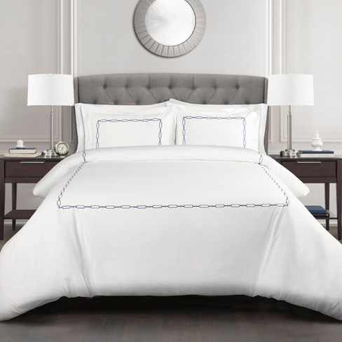 Full Queen 3pc Hotel Geo Duvet Cover, White And Navy Hotel Bedding