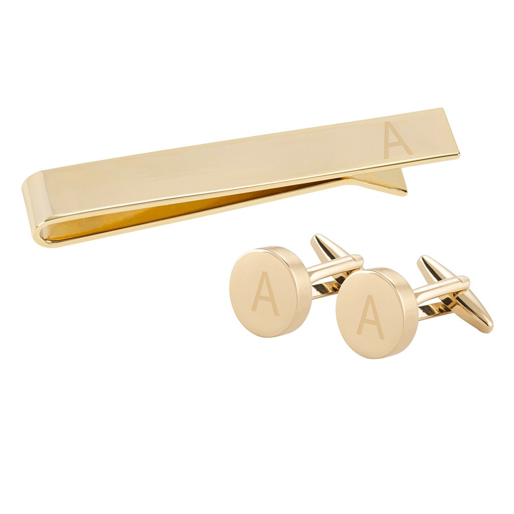 "Image of """"""A"""" Personalized Round Cuff Link and Tie Clip Set Gold, Men's"""