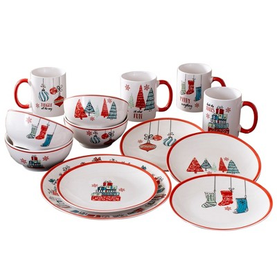 16pc Stoneware Holiday Dinnerware Set White/Red - American Atelier