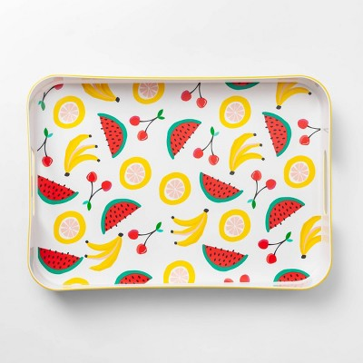 13.1  x18.8  Plastic Fruit Salad Print Rectangle Serving Tray - Sun Squad™